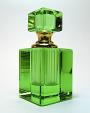 green glass perfume bottle